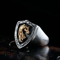 fashion hot selling shield mens punk unicorn rings mens rings european and american wild creative animal gothic rings