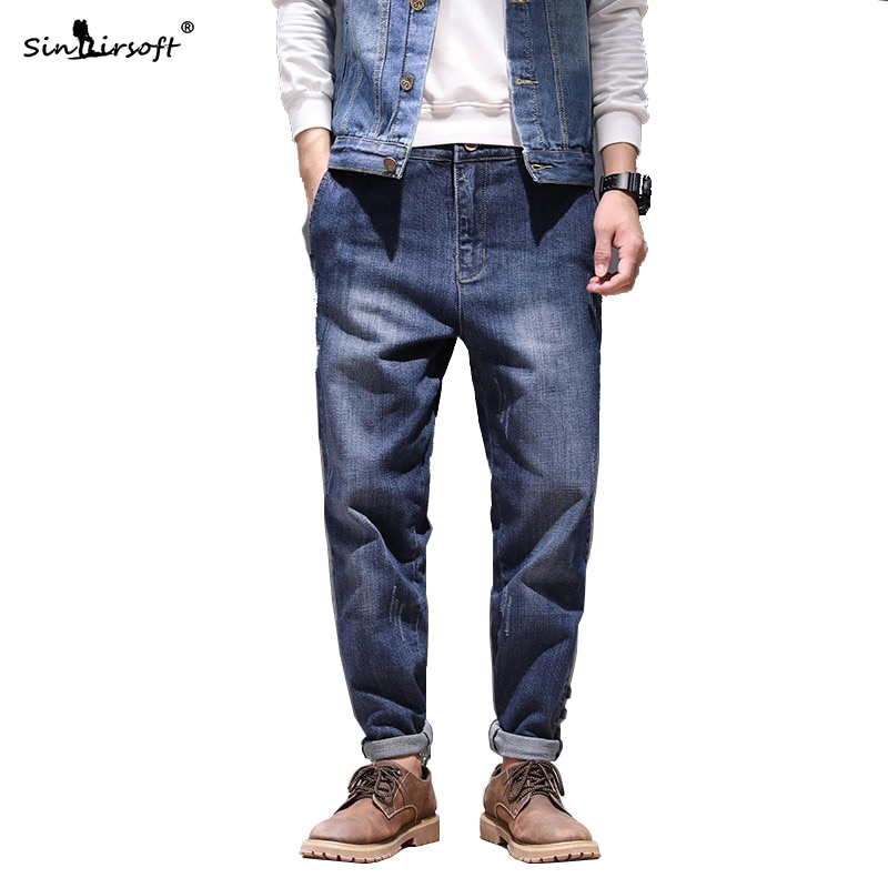 Light Washing Casual Ankle-Length Jeans Trousers Men Soild Side Stripe Patchwork Denim Pencil Pants Male Summer Fashion 28-42