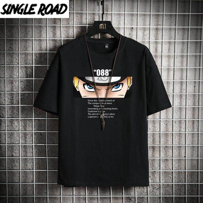 SingleRoad Man's T-shirt Men 2020 Summer Top Anime Oversized Naruto Clothes Japanese Streetwear Harajuku Tshirt Male T Shirt Men