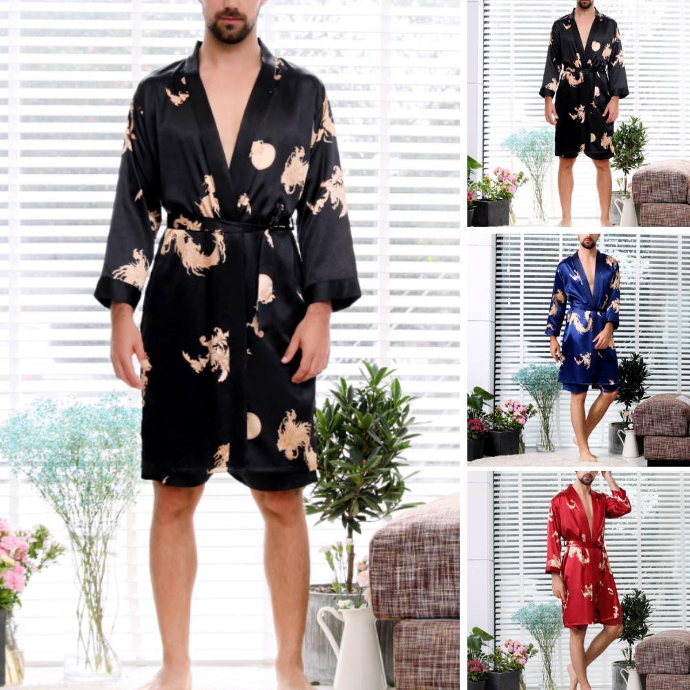 2шт мужчины имитация шелк дракон принт ванна халат шорты брюки пижама одежда для сна комплект