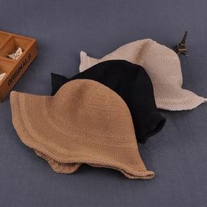 Summer Women's sun hat Bucket cap Breathable straw hat Foldable Dome Elegant Fashion Beach Hat Women Sun Protection Caps