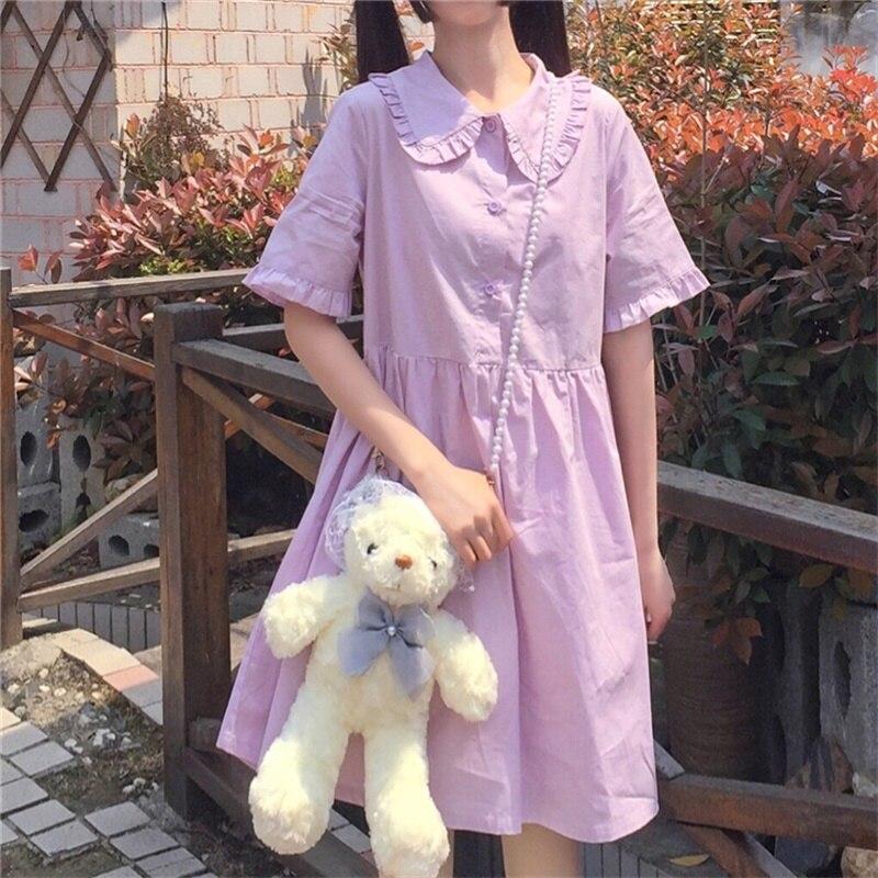 2020 Summer Kawaii Sweet Woman Dresses Japanese Mori Girl College Style Puff Sleeve Peter Pan Collar Women Clothes Party Dress