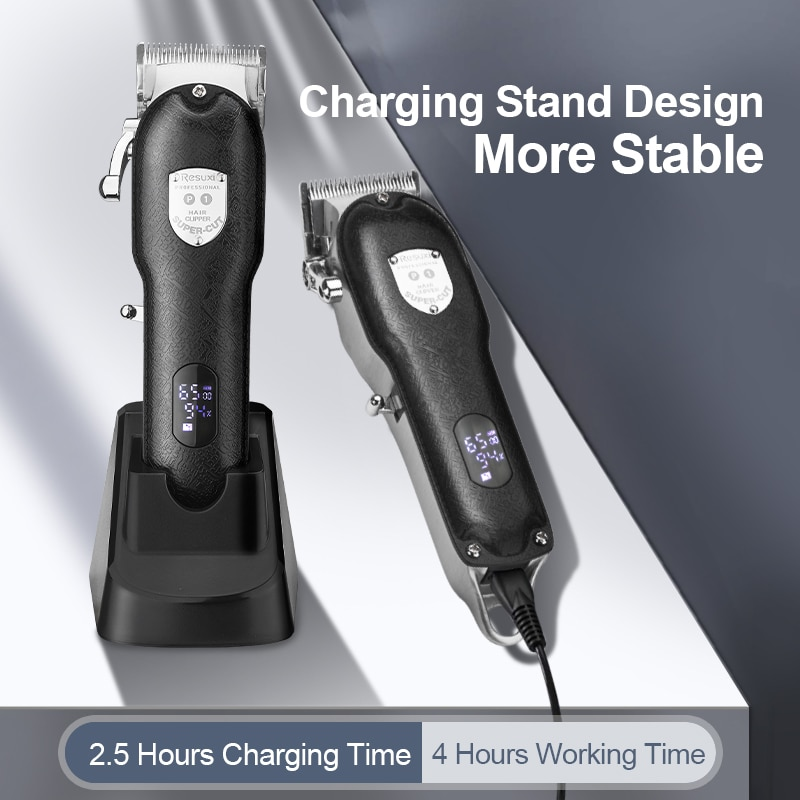 RESUXI Metal Cordless Clipper With Base ProLi Hair Trimmer Rechargeable Zero Gap Barber Trimmer Cordless Hair Cutter Men Shaver enlarge