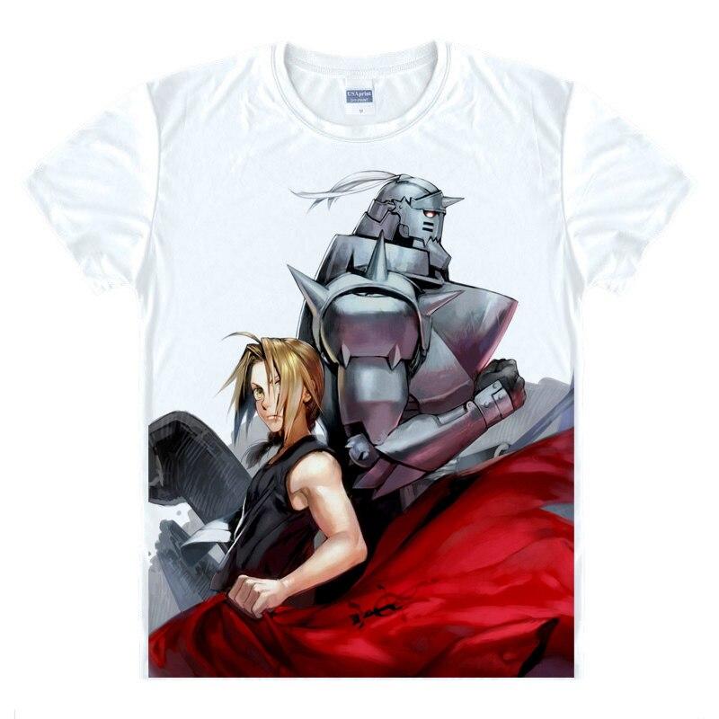 Camiseta con estampado de Fullmetal Alquimista Anime Edward Elric Alphonse, camisetas de Cosplay, camisetas casuales de verano para hombre, ropa de calle divertida