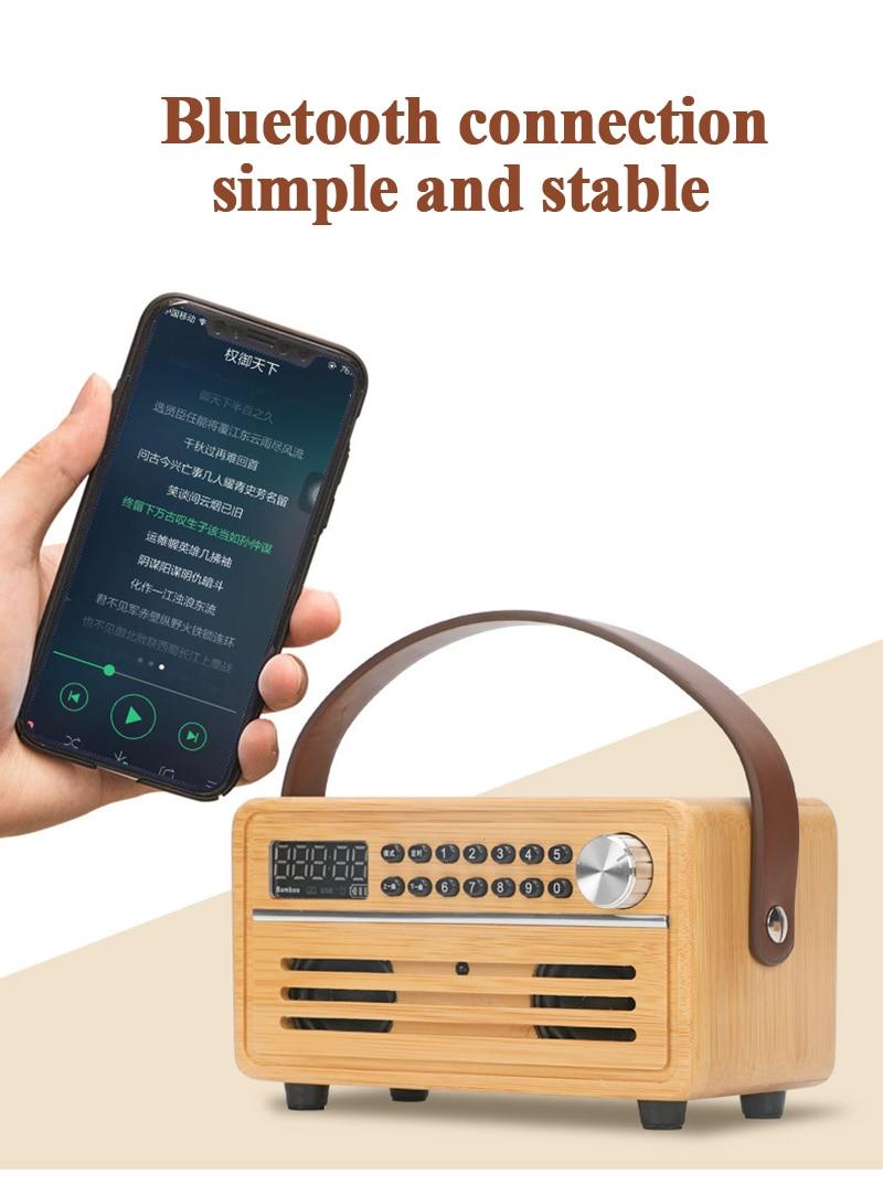 Free custom LOGO bamboo bluetooth speaker portable hand-held with remote control timing loop playback wooden retro speaker radio enlarge
