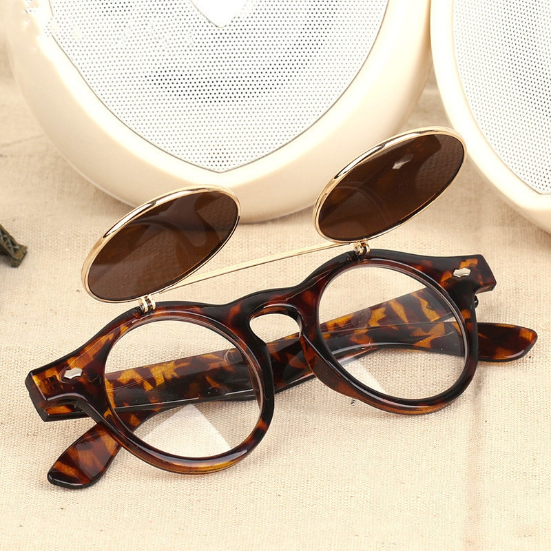 Новые двухслойные солнцезащитные очки с откидной крышкой круглые солнцезащитные очки в стиле ретро стимпанк Модные солнцезащитные очки с ...