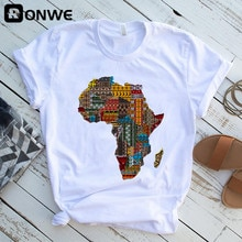 Africa Map Graphic Women T-shirts 2021 Summer Harajuku Female Tops Tee Girl White Printed Clothes Streetwear,Drop Ship