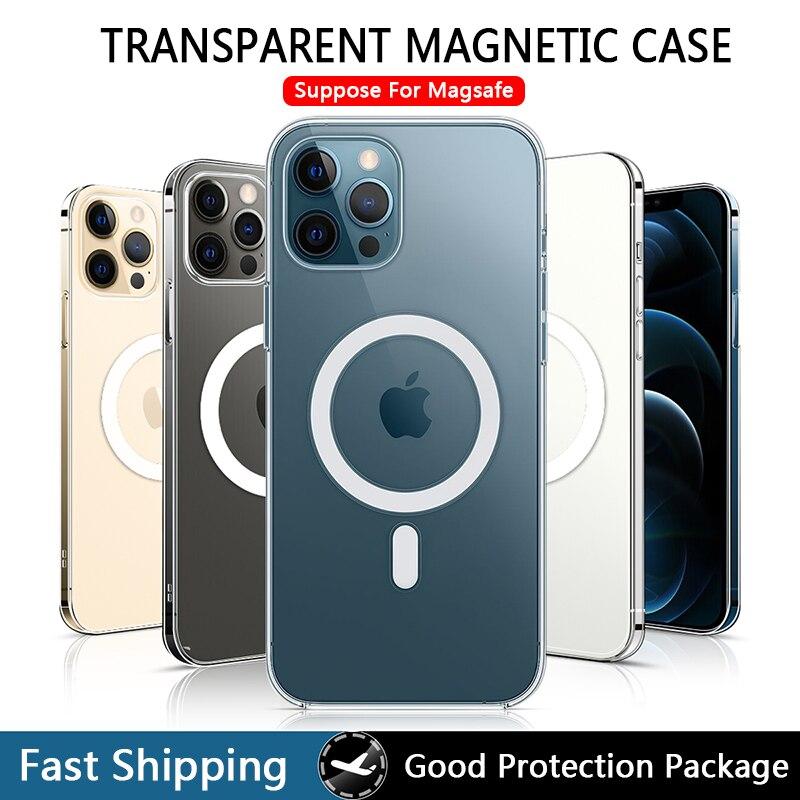 Caso magnético transparente para iphone 12 pro max mini magsafing ímã claro capa traseira para iphone 11 pro xs max x xr iphona Caso de telefone & Covers    -