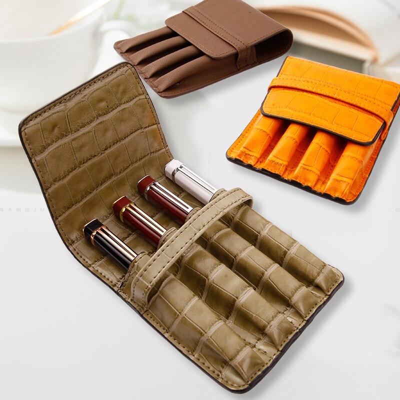 Student Characteristic Leather Pen Case Four Pens Storage Bag Student Business Portable Pen Case Protective Case
