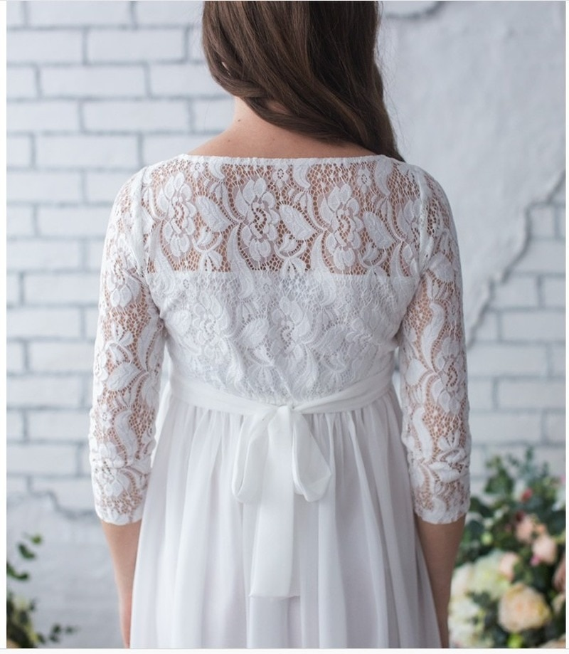 Casual maternity dress European and American sexy lace long sleeve stitching chiffon mop long pregnant women dress enlarge