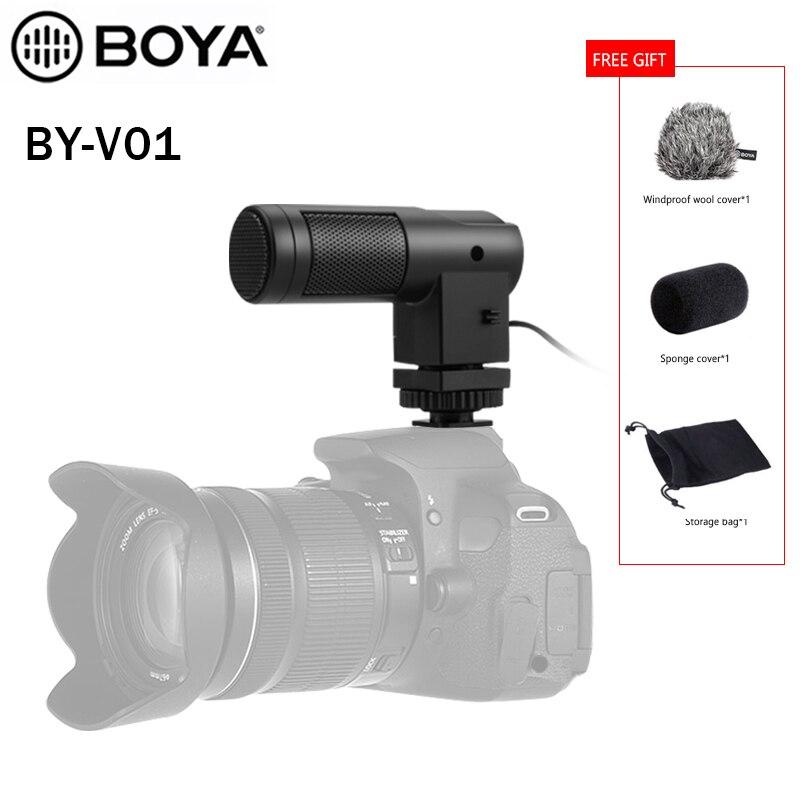 Boya BY-V01 mini estéreo x/y condensador entrevista compacto microfone estéreo para filmadoras dslrs e câmeras de vídeo com pára-brisa