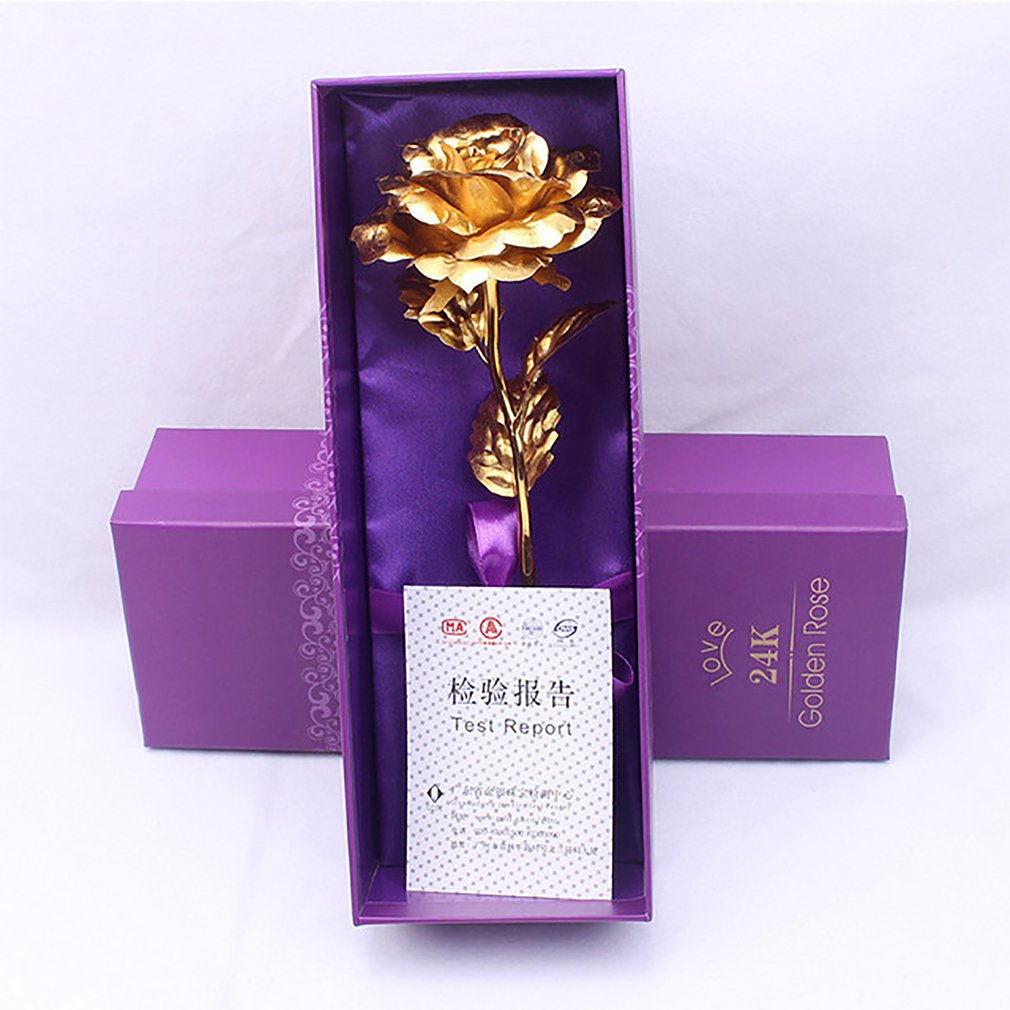 Creative 24k Gold Foil Plated Rose Creative Gifts Lasts Forever Rose for Lover's Wedding Christmas Day Gifts Artificial Flower