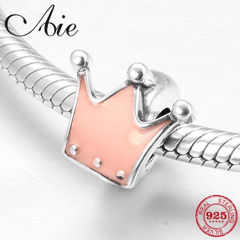 925 Sterling Silber Rosa Schöne crown spacer stopper feinen Perlen Fit Original Europäischen Charme Armband Schmuck machen
