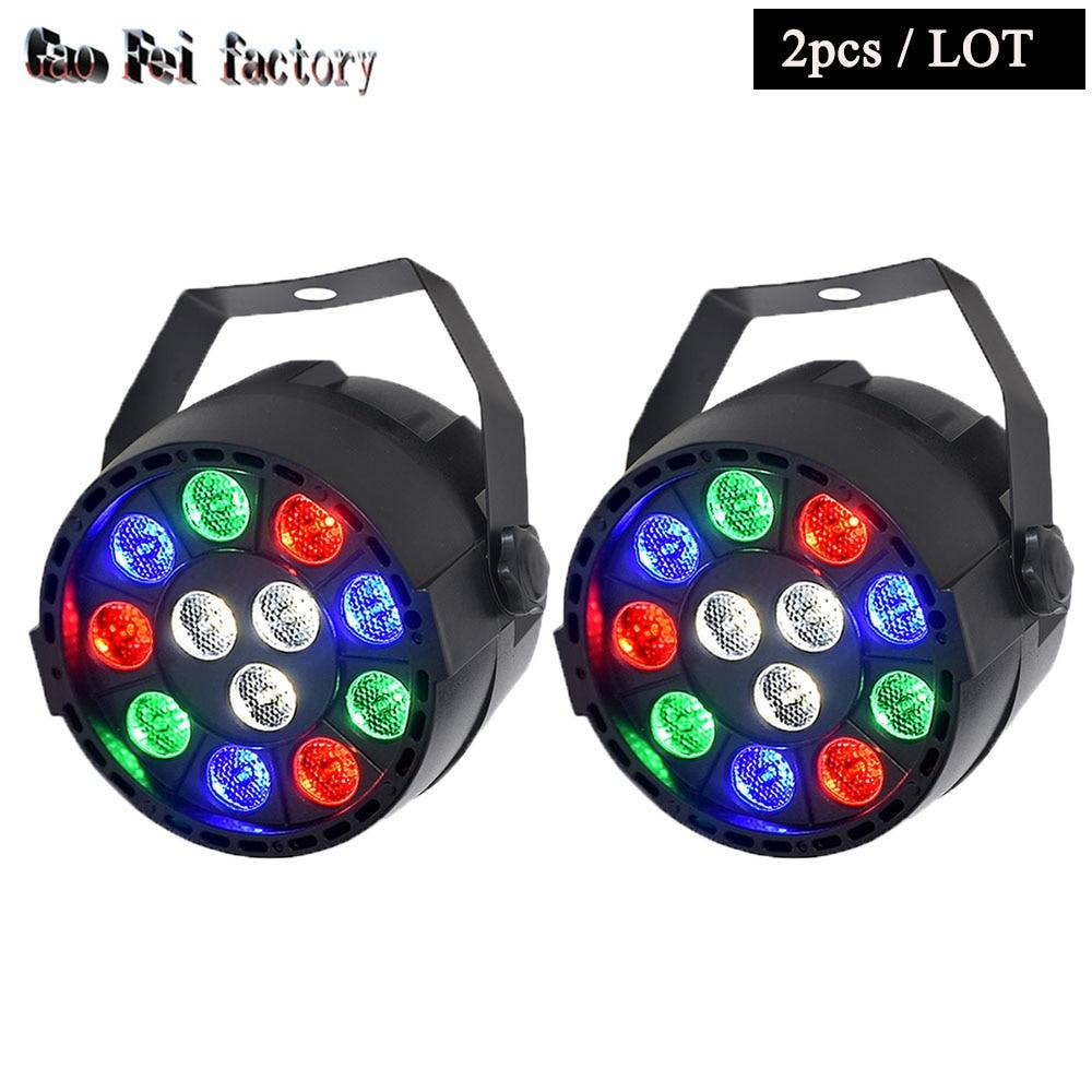 2xLot High Quality Flat LED Par Can 12x3W RGBW DJ Disco DMX Stage Lights Laser Beam Projector Lumiere Controller Equipment