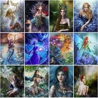 diamond painting fantasy fairy 5d full square round diamond mosaic embroidery girl portrait pictures handicraft home decoration