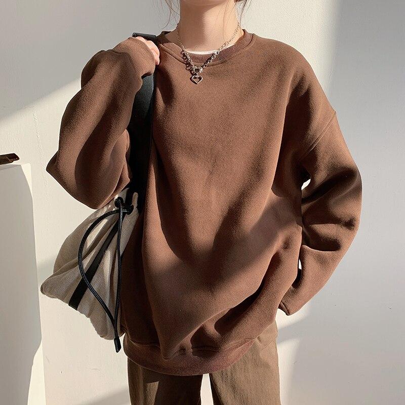 Женский флисовый Однотонный свитер с капюшоном на осень и зиму, новый коричневый толстый теплый Свободный пуловер с круглым вырезом, топы для женщин