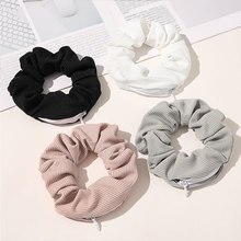 New Solid Color Novelty 2020 Designs Zipper Scrunchies Women Creative Velvet Hairbands Brand Quality Pocket Scrunches With Zip