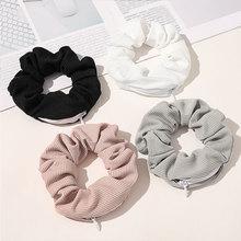 New Solid Color Novelty 2020 Designs Zipper Scrunchies Women Creative Velvet Hairbands Brand Quality