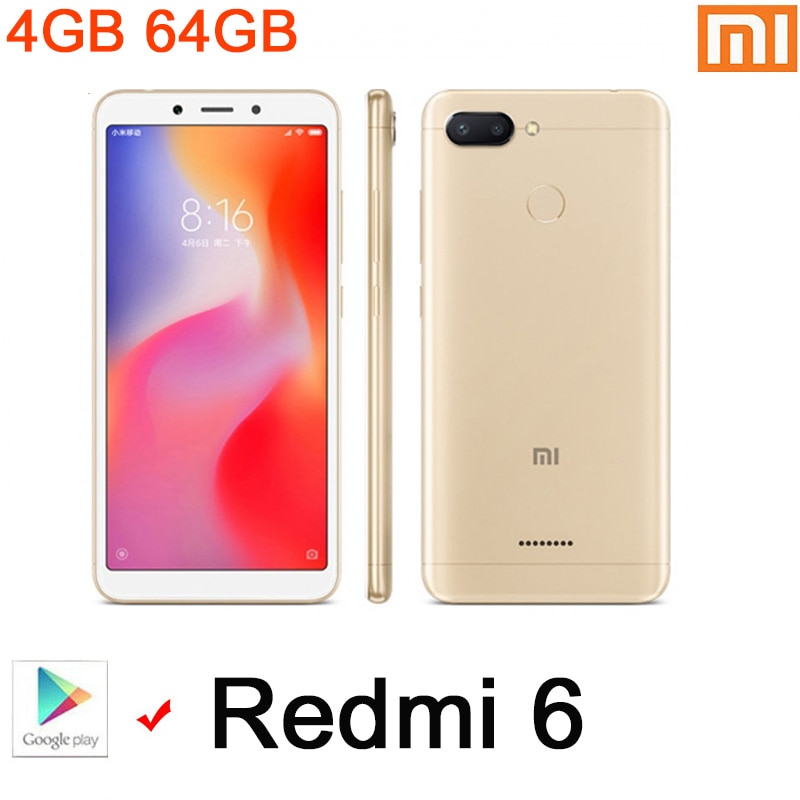 هاتف شاومي ريدمي 6 الذكي بسعر رخيص هاتف جوجليبلاي يعمل بنظام أندرويد 4 جيجابايت 64 جيجابايت قفل الوجه MT6762 Helio P22 متوفر