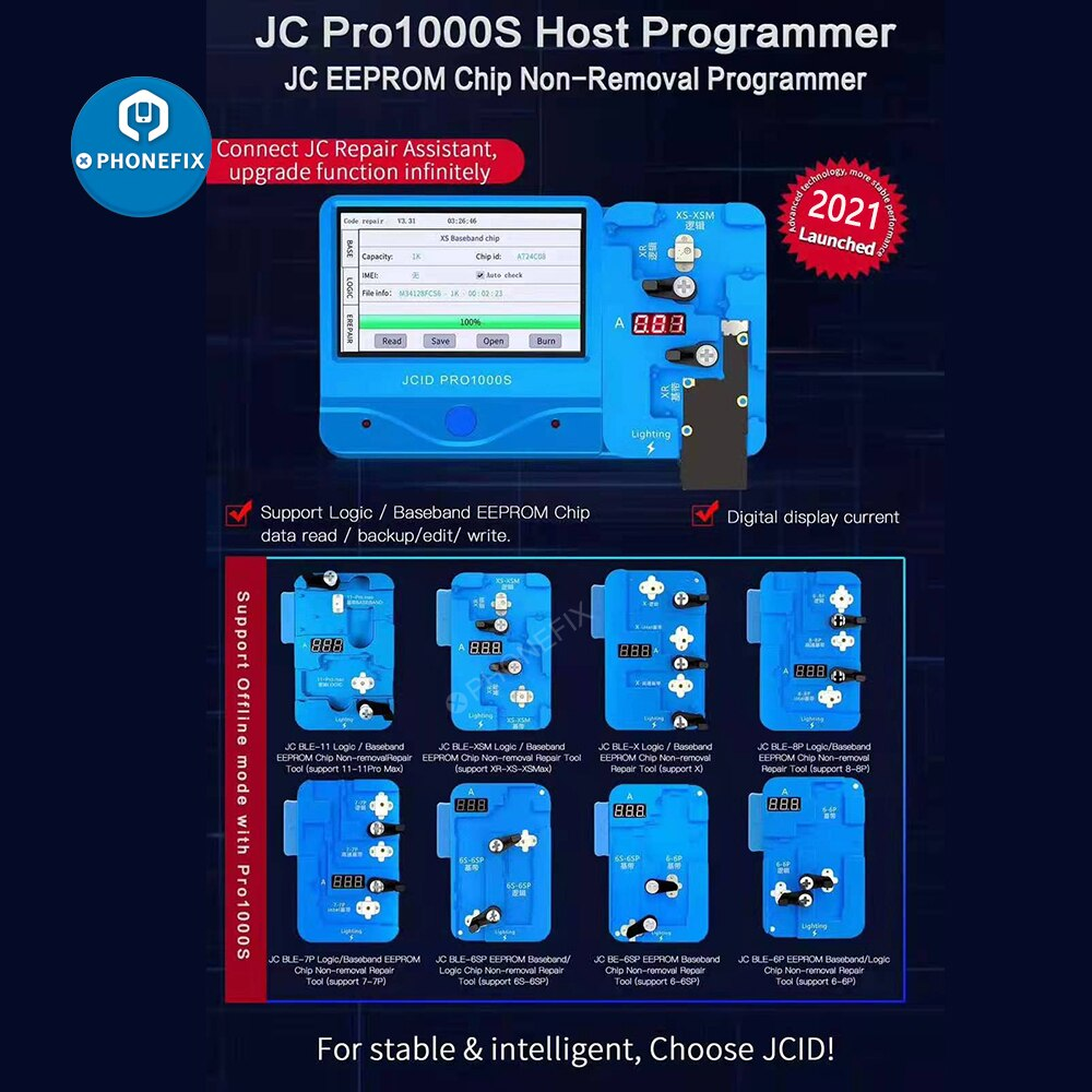 Get JC Pro1000S Logic Baseband EEPROM IC Read Write Module Non-removal Programmer for IPhone 6-XSMax 11 12 Pro Max Error Repair Tool