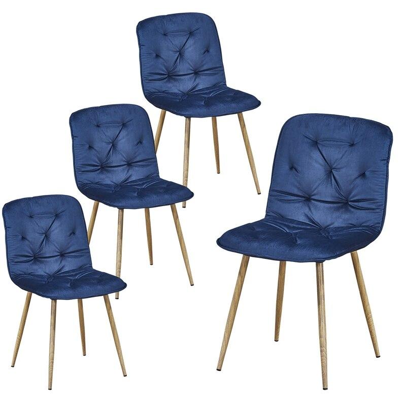 4 قطعة كرسي طعام حديث نسيج منجد لهجة كرسي غرفة المعيشة تصميم بسيط بدون ذراع كراسي جانبية كرسي مطبخ