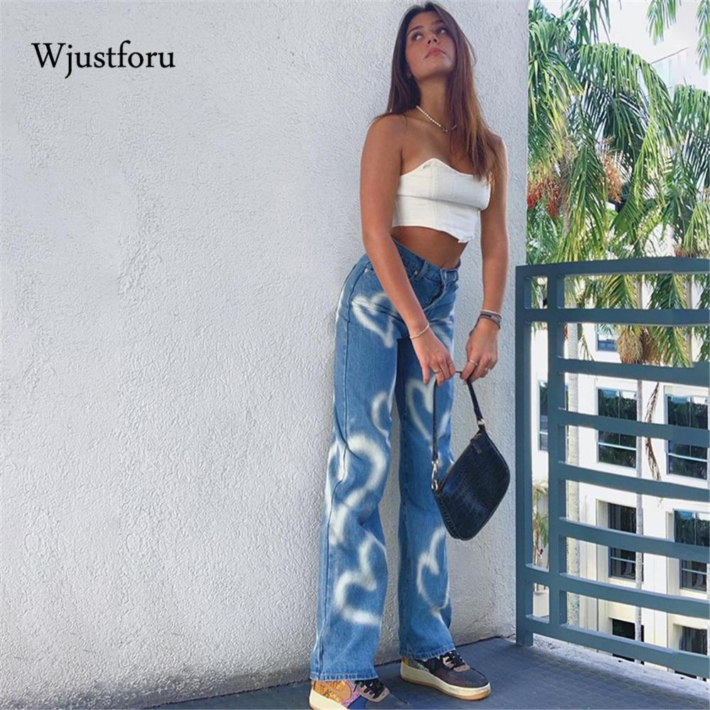 Wjustforu Vintage Heart Printed Baggy Jeans Women Loose High Waist Straight Pants Streetwear Casual Mom Washed Y2K  Trousers