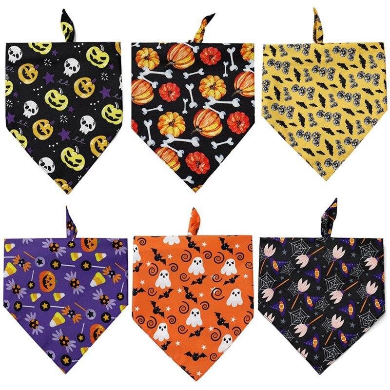 Pañuelo Triangular de doble cara para perro de Halloween, pañuelo para mascota, Bandanas de calabaza y murciélago, Baberos de fantasma, bufanda para perros y gatos 2020