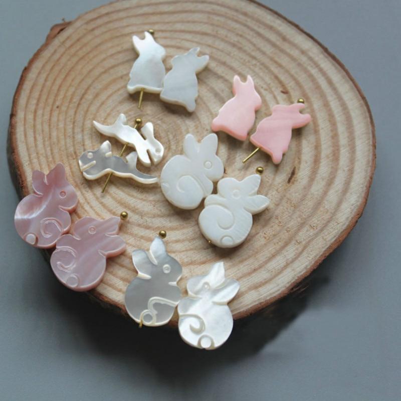 5 unids/bolsa armazón de agua dulce natural de conejo fabricación de joyería de colgantes DIY a mano collar pendientes horquilla con joyería Accesorios