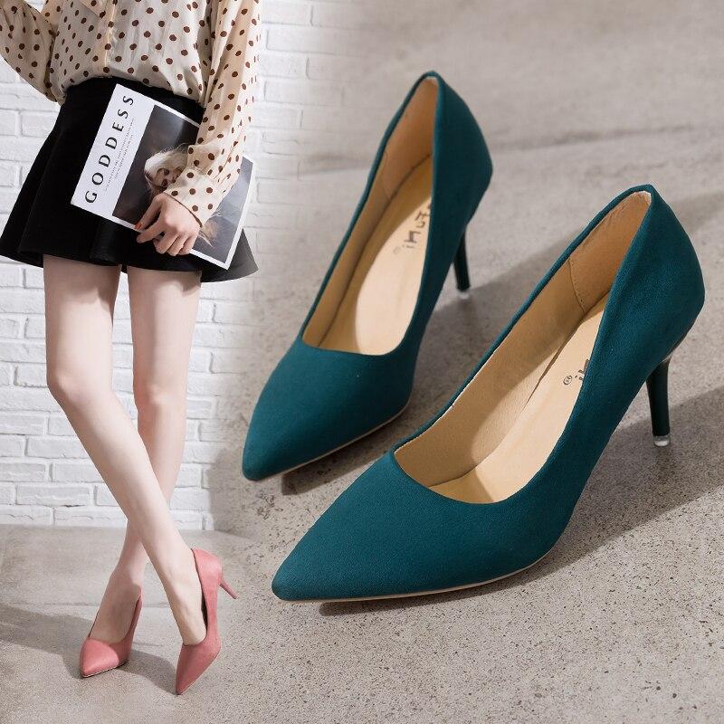 Fino con zapatos negros elegantes tacones altos zapatos de trabajo de talla grande zapatos de mujer de moda Sexy ZAPATOS DE OFICINA DE CARRERA bombas 43,44