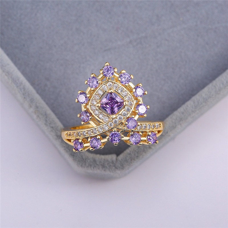 Anillo cuadrado de Corona Roja púrpura de lujo para mujer, anillo de compromiso de oro amarillo de 18KT, anillo de boda Vintage para mujer