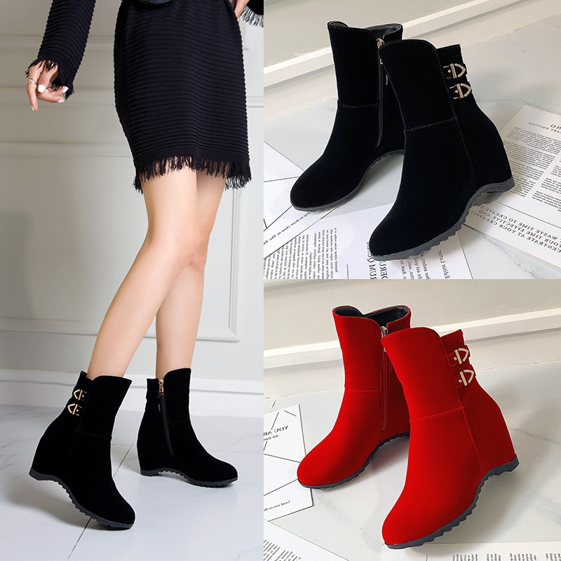Fivela de Metal Outono Inverno Casual Botas Femininas Salto Alto Senhoras Tornozelo Cunhas Escondidas Sapatos Femininos Marten Booties