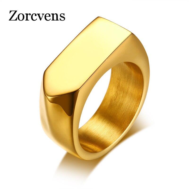ZORCVENS 2020 nuevo anillo Vitality en negro, acero inoxidable, anillo plano superior para hombres, joyería masculina, Aneis Masculinos Anillos