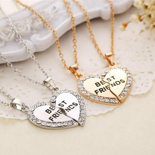 Ожерелье Лучшие друзья из 2 частей Очаровательная сращивания разбитое сердце подвеской в виде буквы навсегда цвета: золотистый, серебристы... недорого