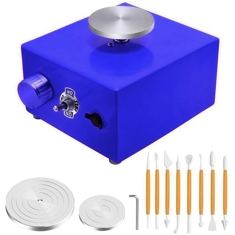 Mini Turntables Pottery Wheel, Pottery Machine Electric Pottery Wheel DIY Clay Tool with Tray for Ceramic Work EU Plug