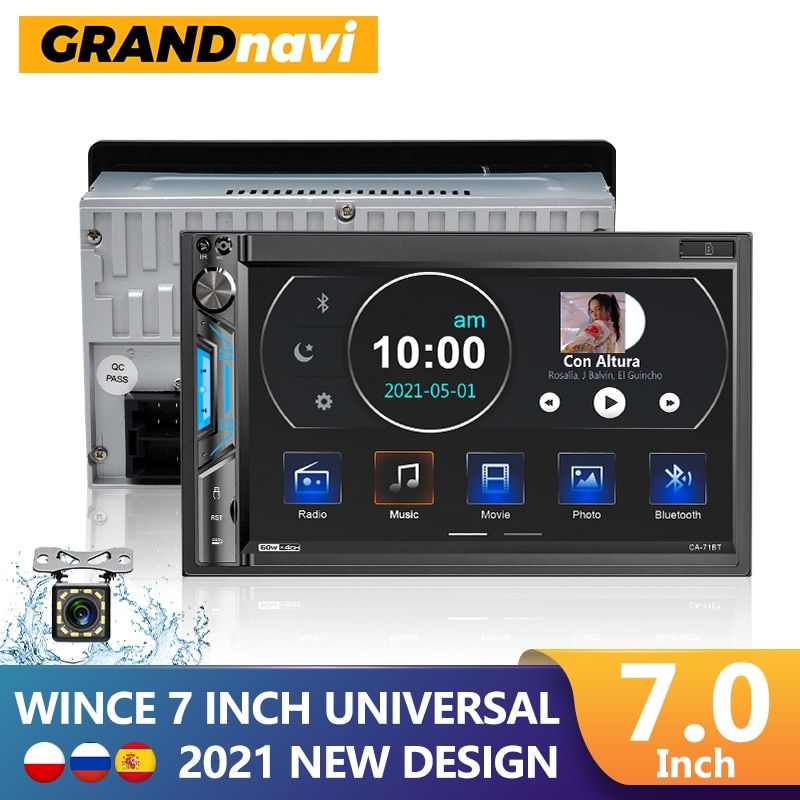 "GRANDnavi 2din Car Radio Touch Screen Bluetooth Mirror link Mp5 Player 2 Din USB Autoradio 71BT 7"" For VW Toyota Nissan Hyundai"