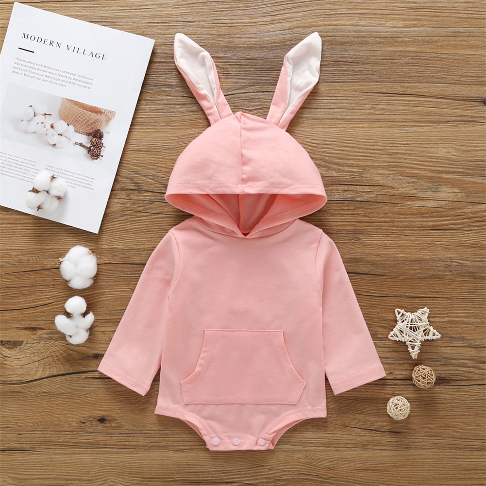 Spring Easter Summer Newborn Baby Kdis Girl Boy Hooded Rabbit Bodysuit Jumpsuit Casual Clothes Pink Gray Casual Outfits