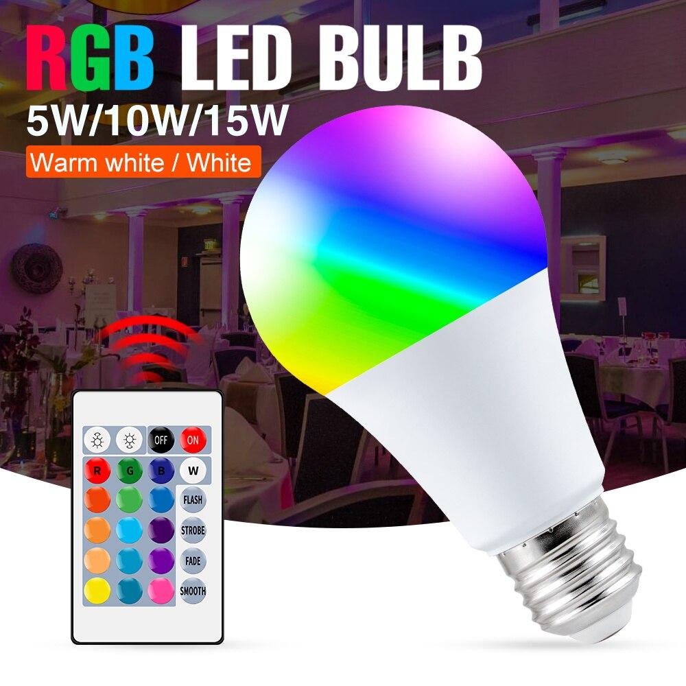 Фото - RGB-лампочка E27, дневная лампочка 5 Вт, 10 Вт, 15 Вт, лампочка 85-265 в, цветные Изменения, RGB умный прожектор, Волшебная лампочка для дома лампочка