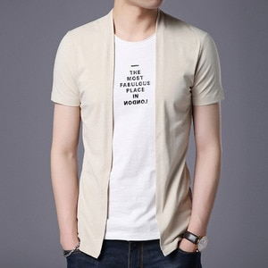 Summer Short-Sleeved T-shirt Men Fake Two-piece Round Neck Fashion Slim Top Print Solid Color Streetwear Men's T-shirt Clothing