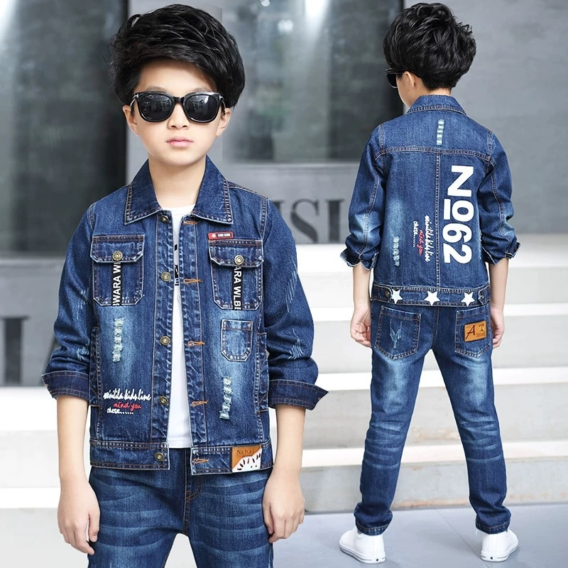 ملابس الأطفال الصبي الربيع دعوى 2020 جديد الكورية الأطفال الدنيم دعوى مجموعتين من الربيع والخريف الأطفال الملابس المد