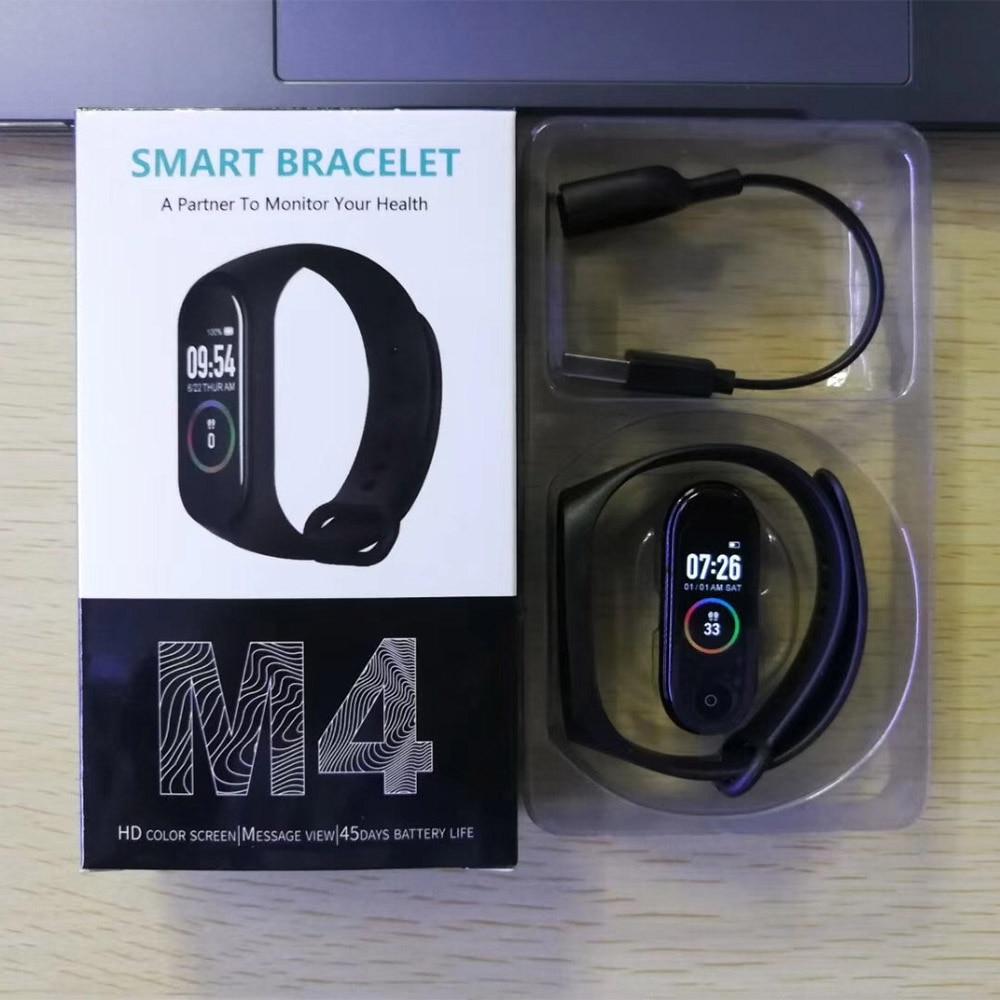 M4 em estoque smartband fitness tracker smartwatch atividade pulseira bluetooth monitor de pressão arterial das mulheres dos homens