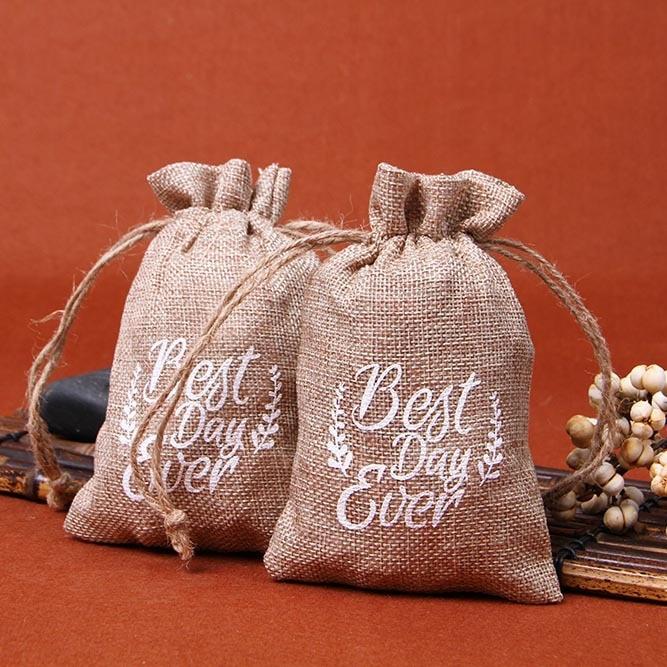 1Pc Jute Linen Fabric Drawstring Storage Bag Jewelry Organizer Coin Purse Environmental Gift Bag Holder