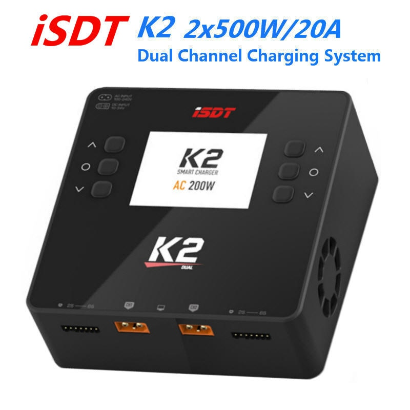 ISDT K2 AC 200W DC 2x500W 20A Dual Channel Balance Lipo Charger Discharger for LiFe Lilon LiPo LiHv Pb NiMh Pb Battery