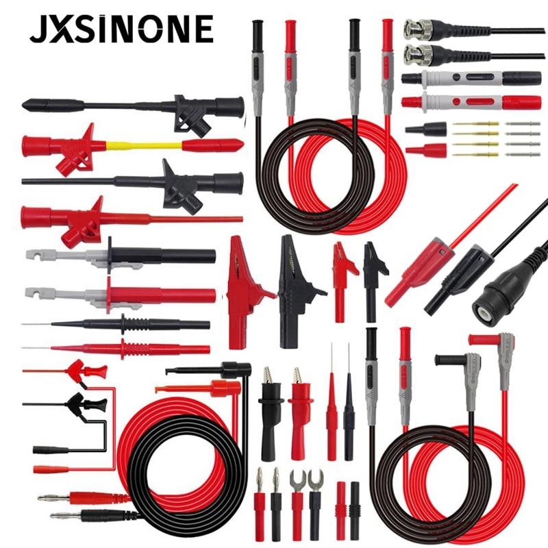 JXSINONE P1600 series Multimeter Test Lead Kit 4mm Banana Plug-Test Cable Test Probe IC Hook Clips Automotive Repair Tool Set недорого