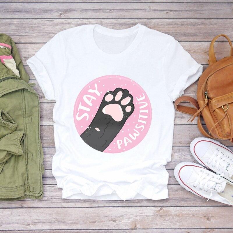 Camisetas para mujer, camisetas con dibujos de gato, pata, letras divertidas, Animal, mascota, estampado bonito para mujer, camiseta gráfica para mujer, camiseta femenina