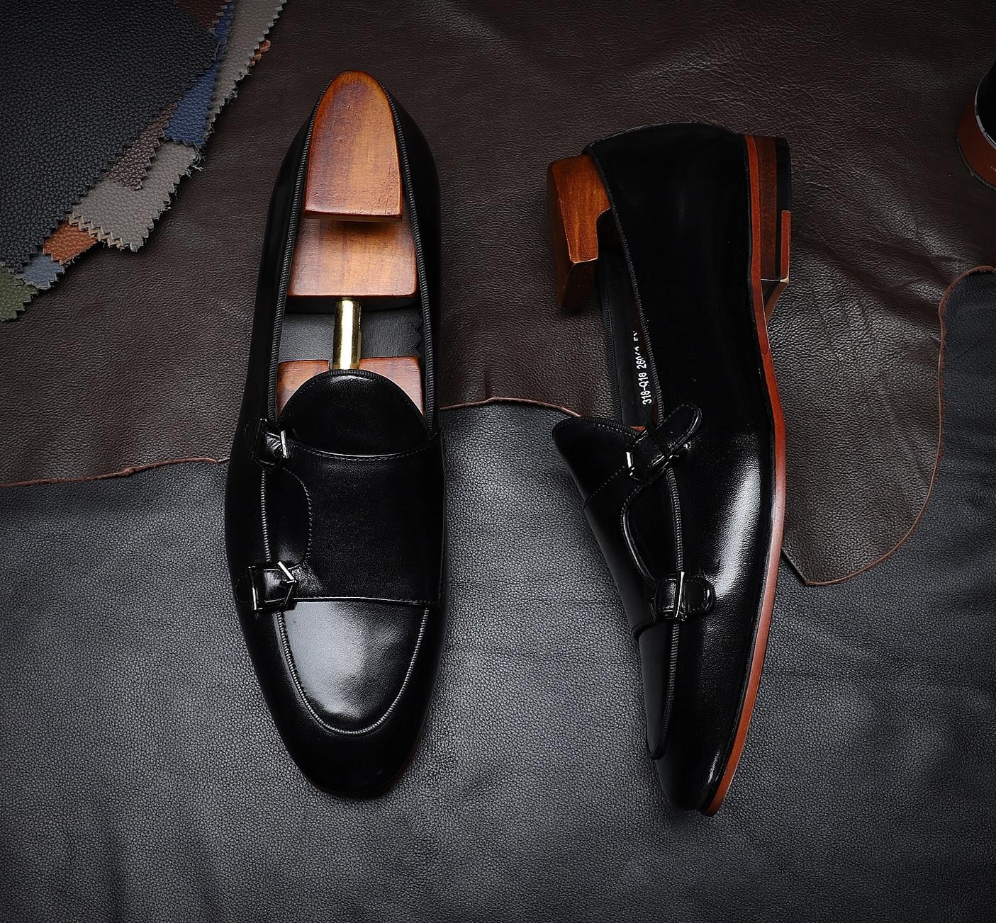 Hanmce موضة تصميم حقيقي أحذية من الجلد مشبك حزام الراهب حذاء رجالي