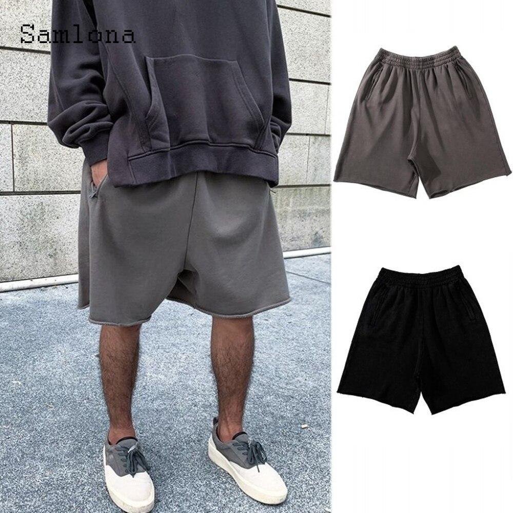 Мужские модные шорты размера плюс 3xl, новые летние свободные пляжные шорты, однотонные повседневные брюки с эластичным поясом, Сексуальная ...