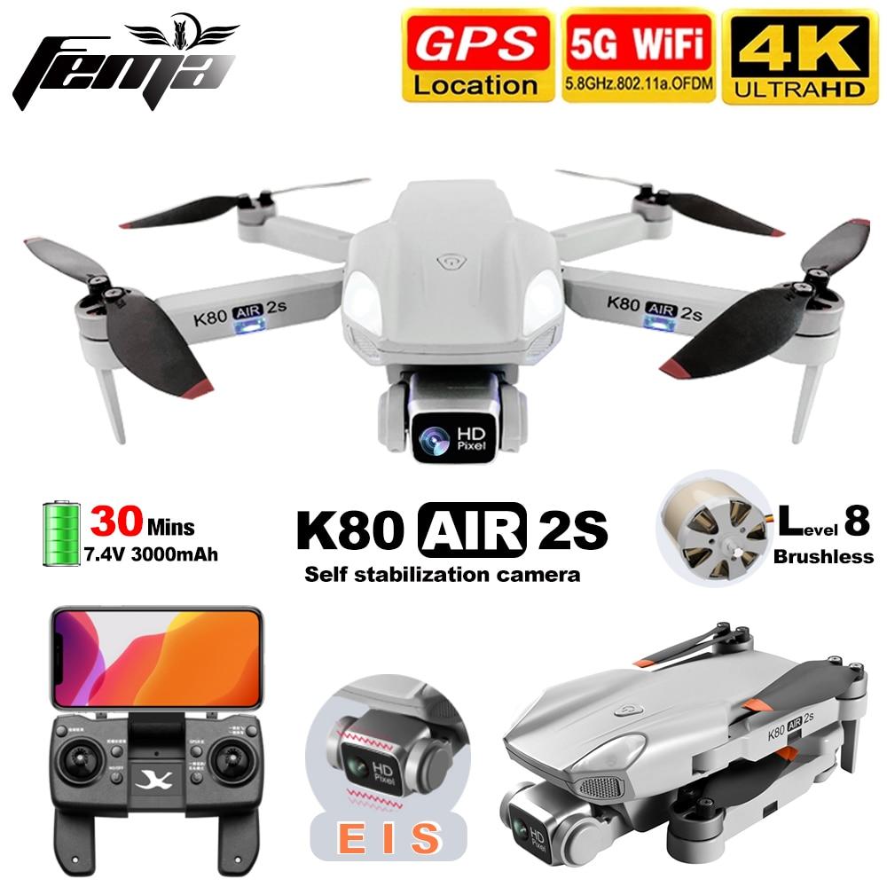 FEMA K80 AIR2S Drone with Camera hd 4K gps Professional Brushless 5G WiFi FPV 1Km Long Distance 28mi