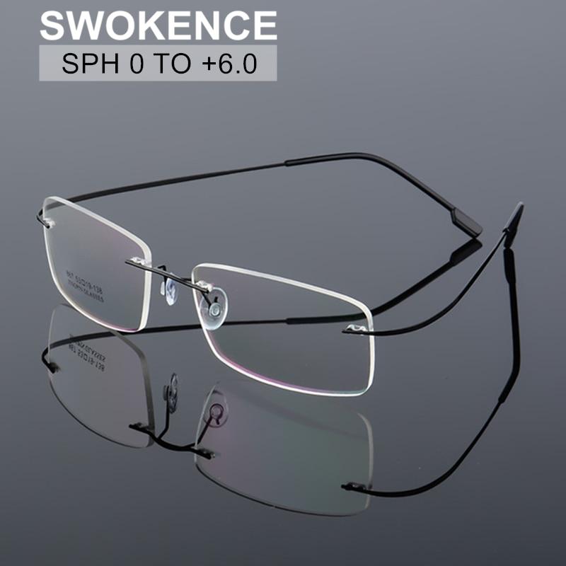 SWOKENCE SPH 0 to +6.0 Rimless Reading Glasses Prescription Glasses For Presbyopic Men Women Titaniu