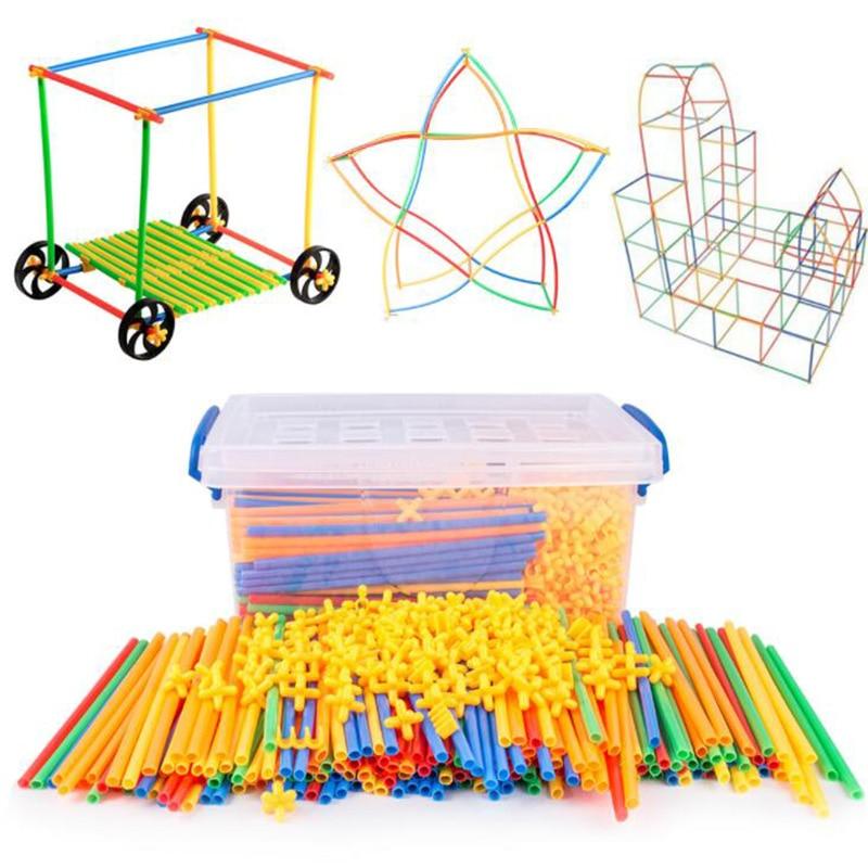 100-700pcs Plastic 4D Straw Building Blocks Joint Funny Development Toys Geometric Shape Block For b
