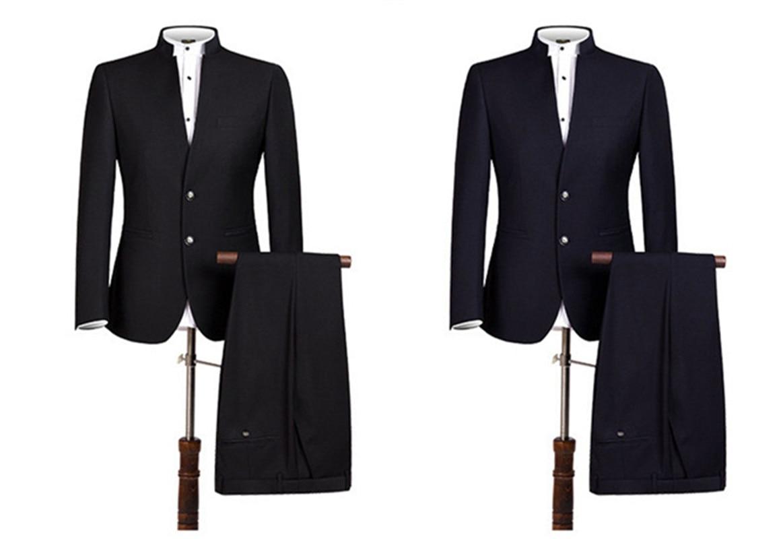 Handsome Two Buttons Groomsmen Mandarin Lapel Groom Tuxedos  Men Suits Wedding/Prom/Dinner Best Blazer(Jacket+Pants+Tie) 156